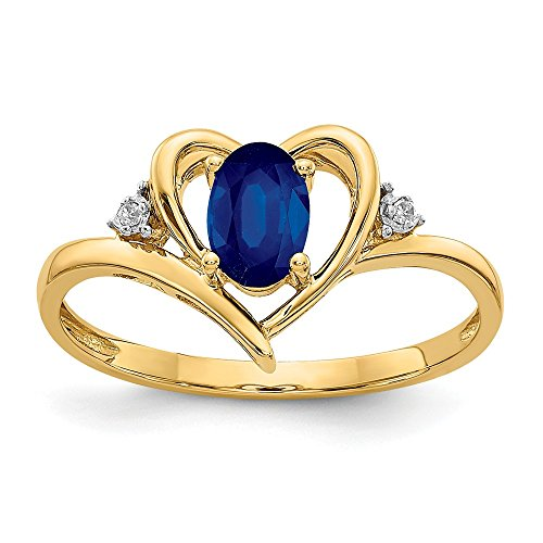 14k Yellow Gold Diamond Sapphire Band Ring Size 7.00 Stone Birthstone September Fine Jewelry Gifts For Women For Her from ICE CARATS