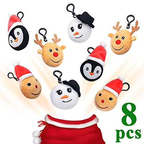 Ivenf 8 Pack 5cm/2″ Christmas Plush Keychain Birthday Party Favors Supplies Mini Pillows Set, Snowman Reindeer Backpack Clips, Goodie Bag Stocking Stuffers Novelty Gifts Toys Prizes for Kids