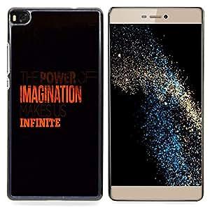 """Qstar Arte & diseño plástico duro Fundas Cover Cubre Hard Case Cover para Huawei Ascend P8 (Not for P8 Lite) (Imaginación Infinito Naranja Limpio Negro"""")"""