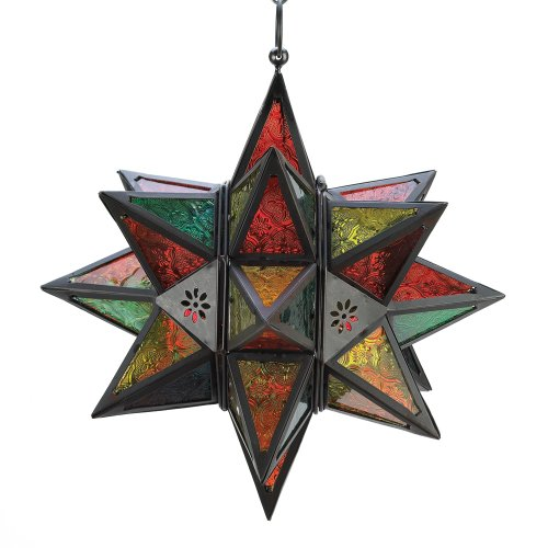 Moroccan Star - Gifts & Decor Moroccan Style Star Shaped Candle Lantern, Metal Glass