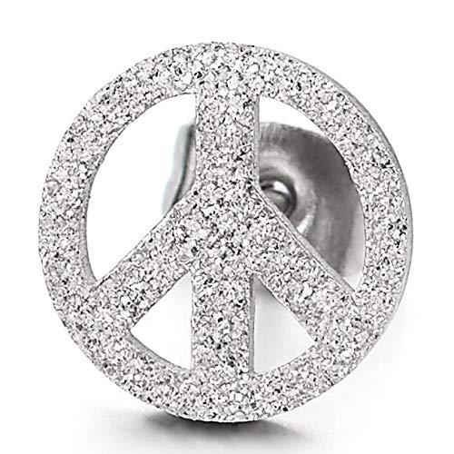 Satinato Segno di Pace Simbolo Contro La Guerra Acciaio Inossidabile Orecchini da Uomo Donna 1 Paio