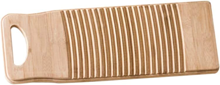 TOPBATHY Wood Washboard Practical Clothes Bamboo Washboard Anti-slip Laundry Cleaning Board Manual Clothes Washing Tool for Home School 60cm