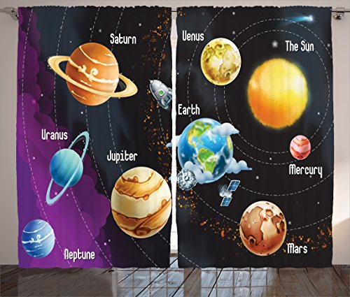 Ambesonne Outer Space Decor Curtains, Solar System of Planets Milk Way Neptune Venus Mercury Sphere Horizontal Illustration, Living Room Bedroom Decor, 2 Panel Set, 108 W X 84 L Inches, Multi (Divider Room System)