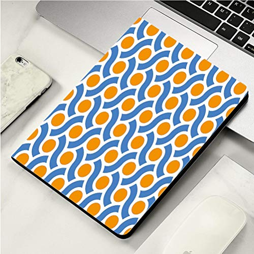 Stylish Print case for iPad air, ipad air2, Soft Back Ultra-Thin TPU Leather Smart case,Geometric Orange Dots Spots with Informal Lines Waves Curvilinear Abstract Design Decorative Orange Blue White