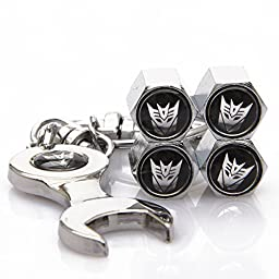 4 Pcs Transformers Tire Valve Caps Zinc Alloy Contains Mini Wrench and Keychain (Decepticons)