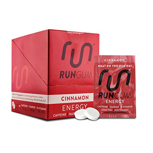 RUN GUM Cinnamon Energy Gum 50mg Caffeine Taurine & B-Vitamins Per Piece, 24 Pieces (Pack of 12), 2 Pieces = 1 Coffee or Energy Drink, Sugar Free, Zero Calorie