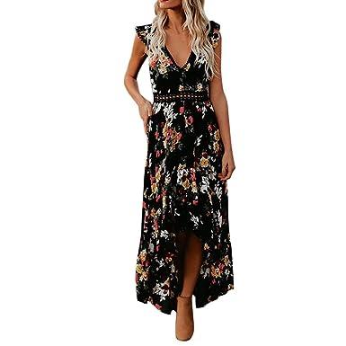 Damen Elegant Kleid Bluelucon Blumen V Ausschnitt Rückenfrei