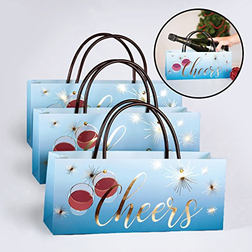 Cheers Wine Gift Bags Set of 3 Perfect for the Holidays and New Years Eve Champagne by Simply Charmed (Cheers Bag, 3)