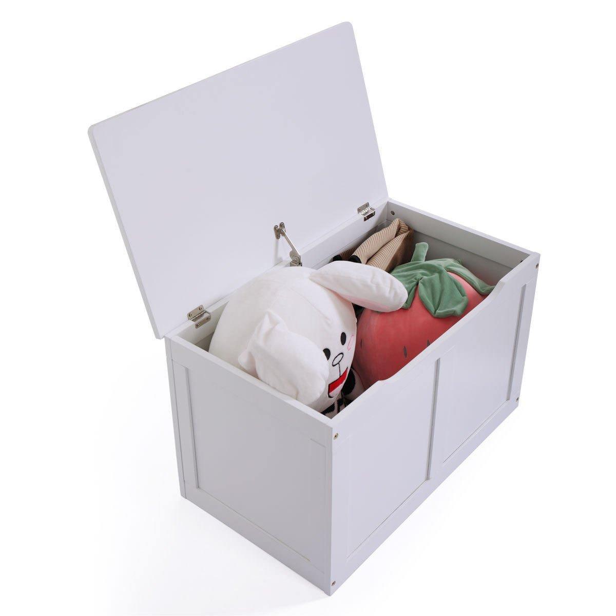 JAXPETY Wooden Toy Box Storage Chest Kids Bench Organizer Furniture White Bin Playroom