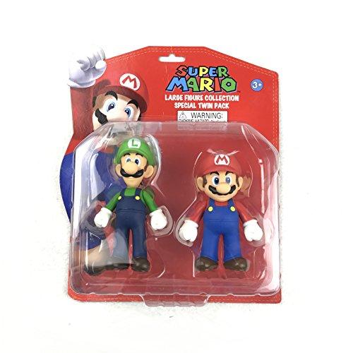 "Goldie Super Mario Toy 5"" Mario & Luigi 2 Pcs PVC Action Figures Twin Gift Pack"