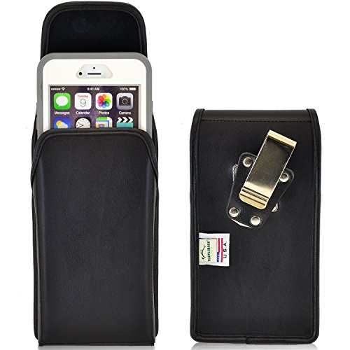 iPhone 6 Plus Belt Case, Turtleback Vertical Apple iPhone 6 6S Plus Holster, fits Otterbox Lifeproof Case, Rotating Belt Clip, Black Leather Pouch, Heavy Duty Made in USA