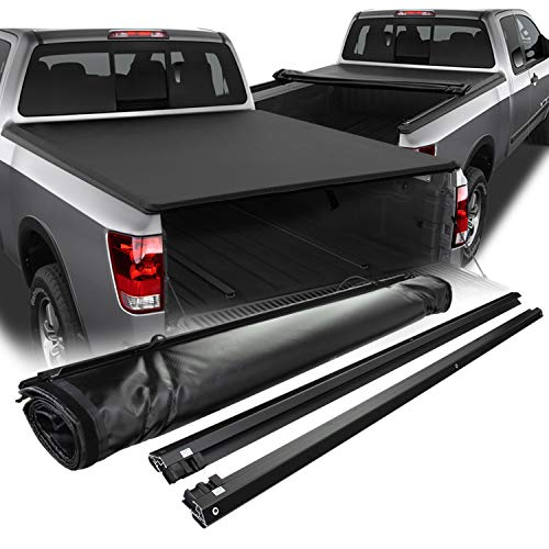 Fits 2004-2015 Titan Extended Cab 78 Inches 6.5 Feet Bed Model Black Soft Roll Up Tonneau Cover