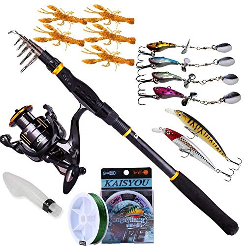 Sougayilang Fishing Rod Reel Combos, Collapsible Telescopic Fishing Pole with Spinning Reel Kit for Adults Kids Outdoor Sport Travel Freshwater Saltwater Fishing from Sougayilang