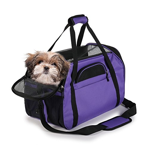 "Soft Sided Pet Carrier Comfort 17"" for Airline Travel, Portable Dog Tote Bag for Small Animals, Cats, Kitten, Puppy, Purple"