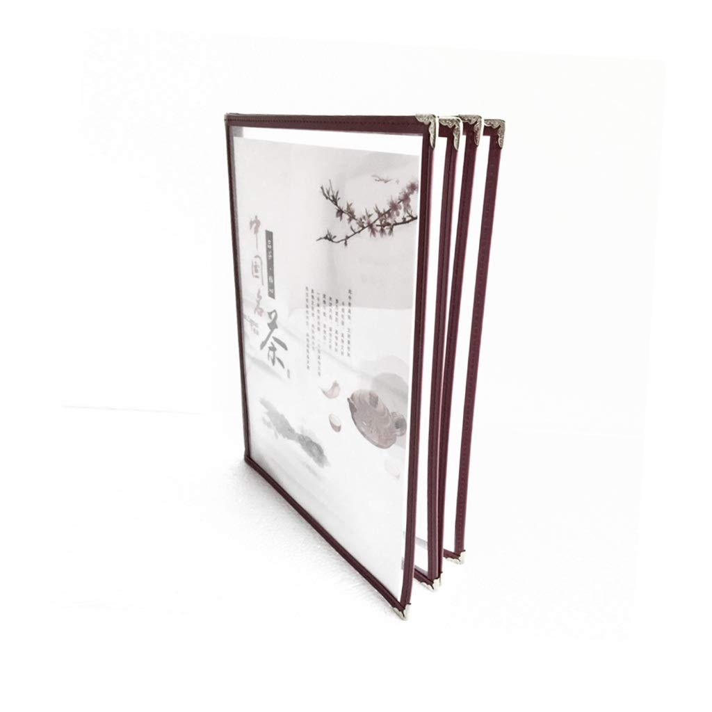 Document Display Book File Storage Organizer 4 Pages 8 Sides Protect Important Documents from Damage(Imitation Leather + PVC) 24.532CM