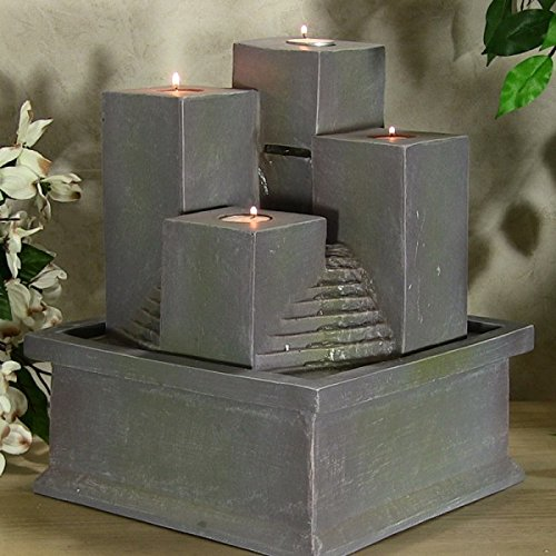 Tealight Pillar Tabletop Fountain by Feng Shui Import