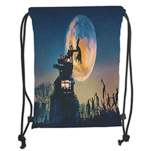 (Custom Printed Drawstring Sack Backpacks Bags,Fantasy World,Dead Queen in Castle Zombies in Cemetery Love Affair Bridal Halloween Theme,Blue Yellow Soft Satin,5 Liter Capacity,Adjustable String)