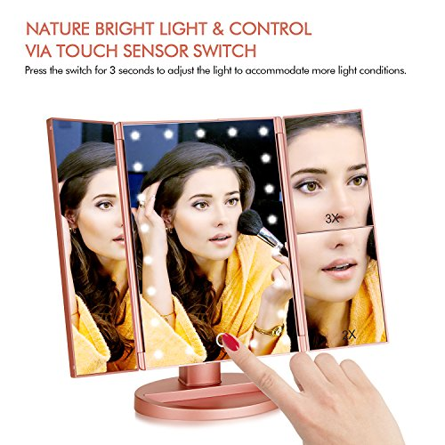 Flymiro Tri-fold Lighted Vanity Makeup Mirror with 3x/2x Magnification,21 LEDs Light and Touch Screen,180 Degree Free…