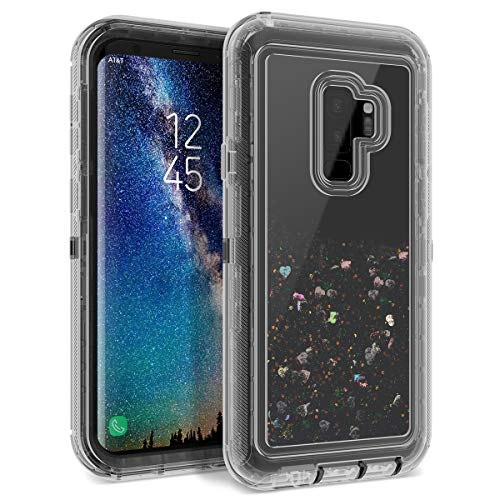 Dexnor Samsung Galaxy S9 Plus Case Glitter 3D Bling Sparkle Flowing Liquid Quicksand Case Transparent 3 in 1 Shockproof TPU Silicone + PC Protective Defender Cover for Girls Women - Black