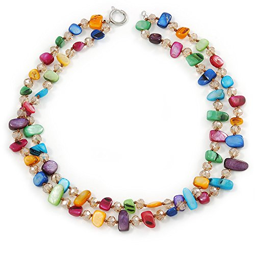 Two Row Multicoloured Shell Nugget and Nude-coloured Glass Crystal Bead Necklace - 44cm L ()