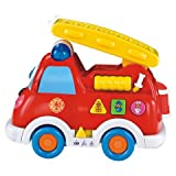Fire Engine Truck Toys for Kids with Flashing lights and Siren, Moves and Rides On Its Own!