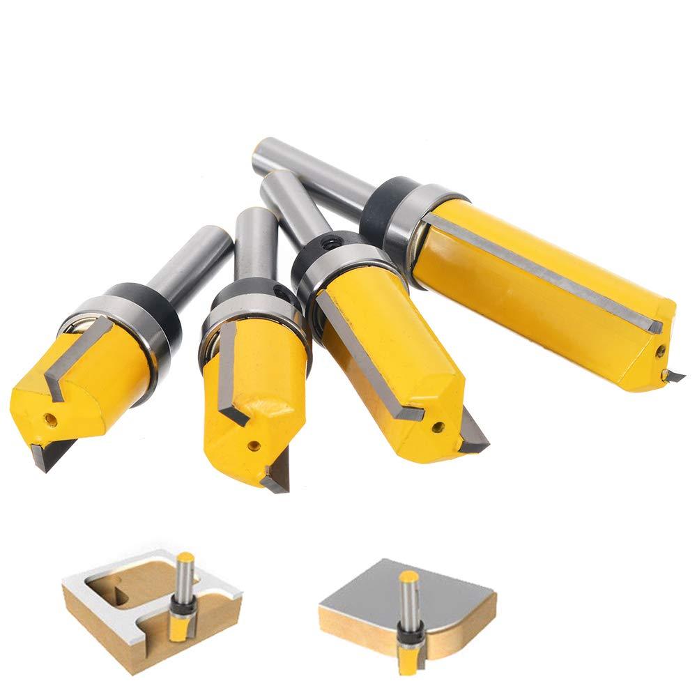 Gasea 4pcs 8mm Tige Motif de Garniture Routeur Bits Set Template Trim Routeur Bits Routeur de Motif de Finition Affleurant Outil de Coupe de Fraisage du Bois 20mm 50mm 38mm 25mm