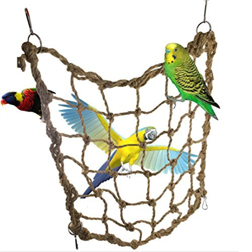 Bird Swing Climbing Ladder Chew Rope Hammock Hanging Cage Toys for Macaw African Greys Cockatoo Budgies Parakeet Cockatiel by ZSWELL