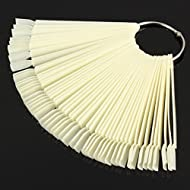 Beauticom 250 Natural Acrylic False Tip Sticks with Metal Ring Holders Fan-Shaped Nail Art Display Chart Practice Tips Tool - 250 Tips