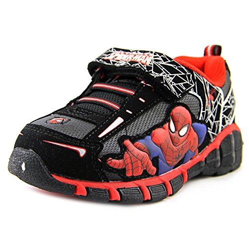 Marvel Spider-Man Boys Lighted Sneakers Shoes, Black, 7 M US Toddler -