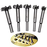 Forstner Drill Bits - SROL 5pcs 15-35mm Carbide Steel Woodworking Hinge Boring Hole Saw Drill Bit Set for Wood Plastic Plywood
