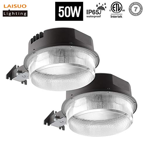 LAISUO Lighting LED Yard Lights 50W (150W Equiv.) Outdoor Barn Light, 5000K Dusk-to-Dawn Security Light, 5750lm Ultra-Bright Area Floodlight Waterproof, Photocell Included, ETL- Listed, 2 Pack