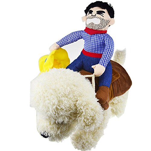 OSPet Pet Dog Halloween Cowboy Funny Costume Dog Riders Clothes with Hat]()