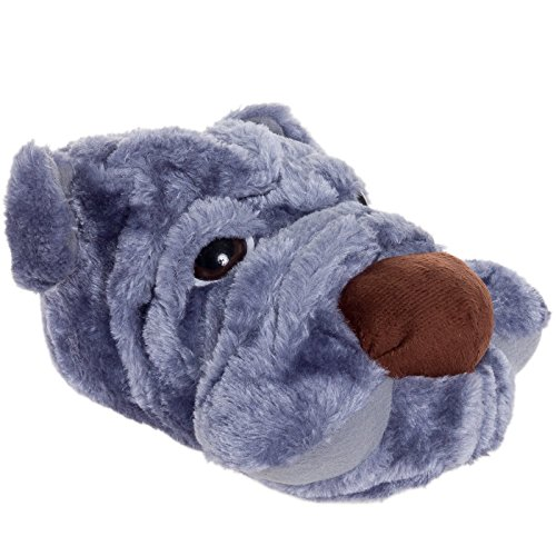 [Silver Lilly Dog Plush Animal Slippers (Grey, M)] (Youre Next Costume)