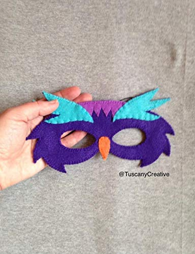 Owl Mask in Purple Felt with Elastic Fastener