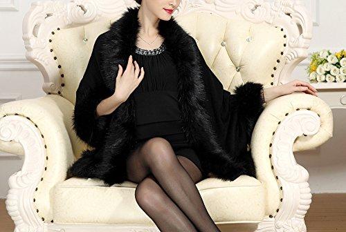 cape PLAER Fox Cape Faux Noir manteau aux femmes tricot Fur Manteau Chale ZrxUtZ8qw