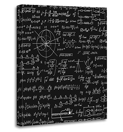 Emvency Painting Canvas Print Artwork Decorative Print Physical Scientific with Formulas Researching Equations and Figures Handwritten Wooden Frame 16x20 inches Wall Art for Home Decor -
