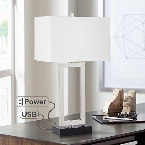 (Todd Modern Table Lamp with Hotel Style USB and AC Power Outlet in Base Steel Open Rectangle White Shade for Bedroom Office - 360 Lighting)
