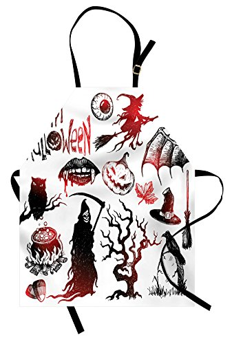 Lunarable Halloween Apron, Scary Objects Retro Inspired Evil Dead Skeleton Witch and Magic Book Picture Print, Unisex Kitchen Bib Apron with Adjustable Neck for Cooking Baking Gardening, Black Red