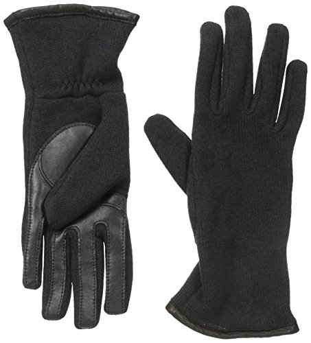 U|R Women's Leather Trim Touchscreen Glove, Black, Large/X-Large