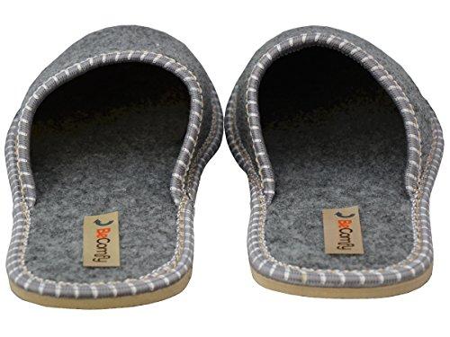 BeComfy Damen Filz Hausschuhe Blumenmotiv Slipper Pantoletten Leicht und Warm - Filzsohle oder Gummisohle - Grau Größe 36 37 38 39 40 41 EU Modell FDS Grau