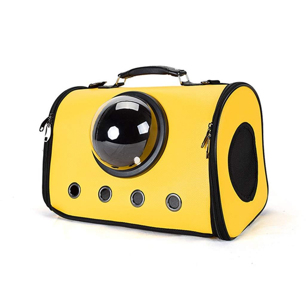 携帯用ペットハンドバッグPUスペースカプセル通気性猫犬バッグ