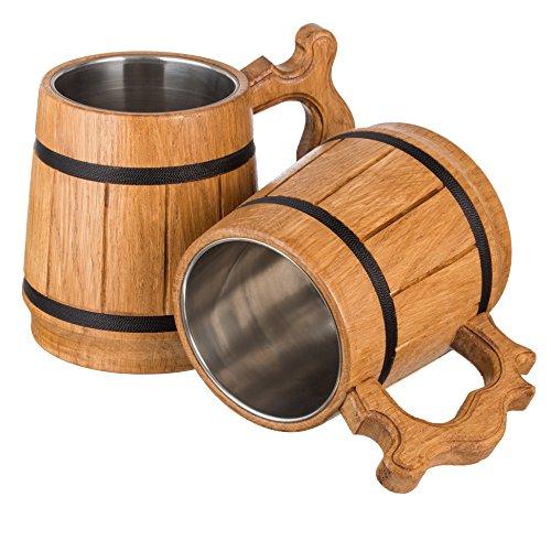 Handmade Wood Beer Mug Natural Stainless Steel Cup Men Gift Eco