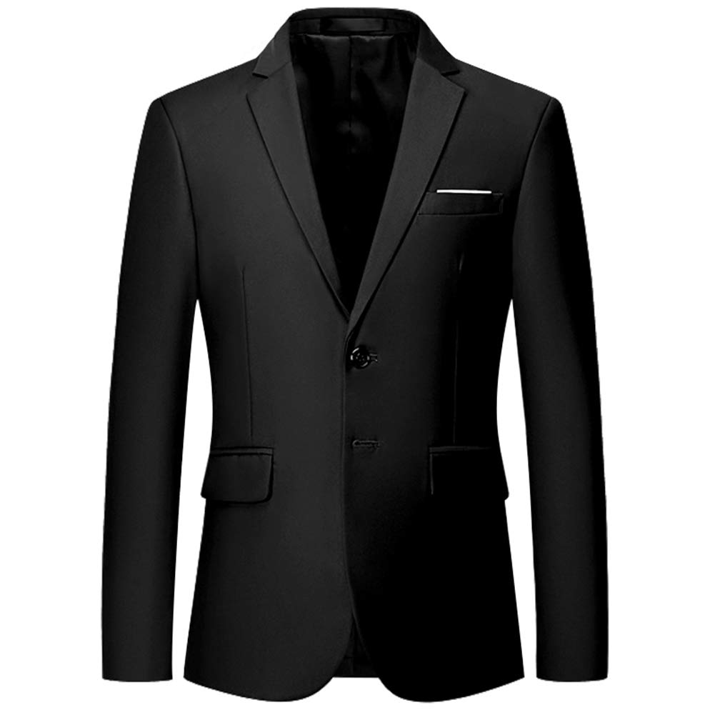 Mens Slim Fit Blazer Jacket Two-Button Notched Lapel Casual Suit Jacket Black by YFFUSHI