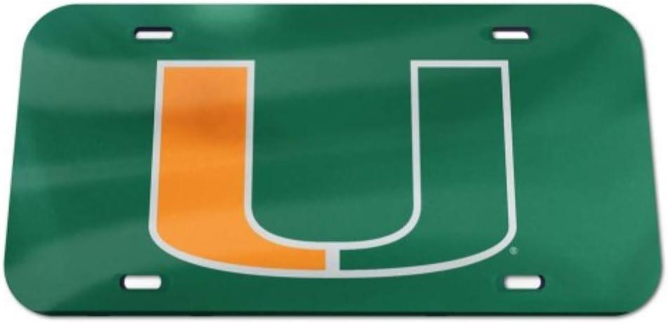 NCAA Miami Hurricanes Logo Crystal Mirror License Plate