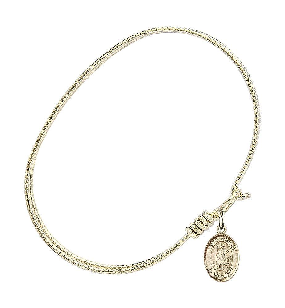 Hubert of Liege in Gold-Filled Bonyak Jewelry Oval Eye Hook Bangle Bracelet w//St