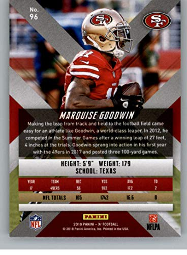c726a8703e6 Amazon.com  2018 Panini Xr Football  96 Marquise Goodwin San Francisco 49ers  Official NFL Trading Card  Collectibles   Fine Art