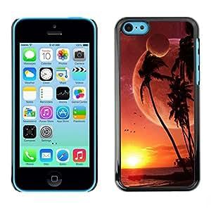 PC/Aluminum Funda Carcasa protectora para Apple Iphone 5C Alien Planet Beach World Palm Trees Sunset Art / JUSTGO PHONE PROTECTOR