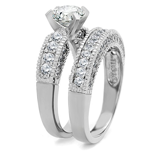 Bellux Style Women's 2-Piece Classic Wedding Engagement Rings Stainless Steel 2.3 Carats Cubic Zirconia Anniversary Promise Ring Band CZ Bridal Set for Her Size 8 + Sterling Silver Earrings by Bellux Style (Image #3)