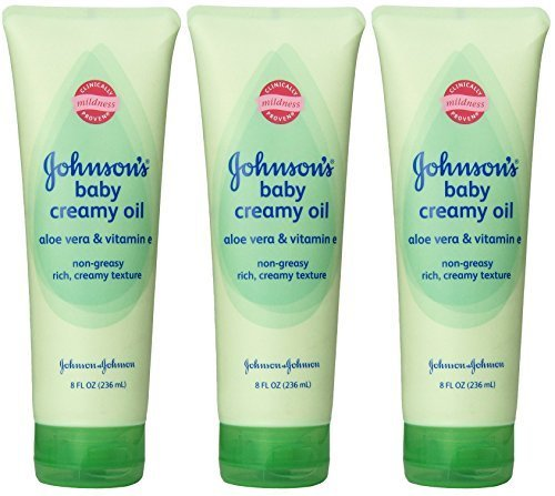 Johnson's Baby Creamy Oil - With Aloe Vera & Vitamin E - Non-Greasy - Net Wt. 8 FL OZ (236 mL) Per Tube - Pack of 3 (Sweet Summer Aloe)