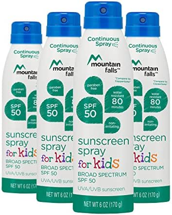 Mountain Falls Kids Sunscreen Continuous Spray, SPF 50 Broad Spectrum UVA/UVB Protection, 6 Ounce (Pack of 4)